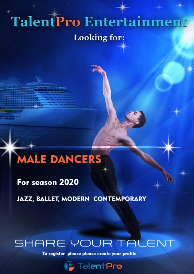 Male dancers needed for cruise line contracts