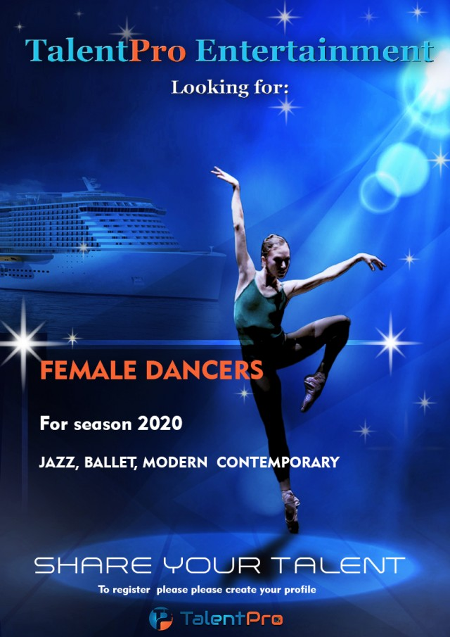 Female  dancers needed for cruise line contracts